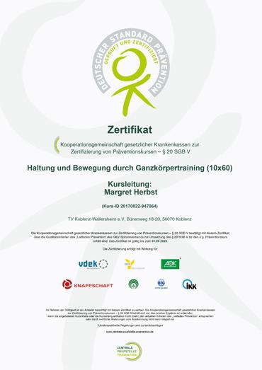 Zertifikat: Haltung und Bewegung durch Ganzkörpertraining