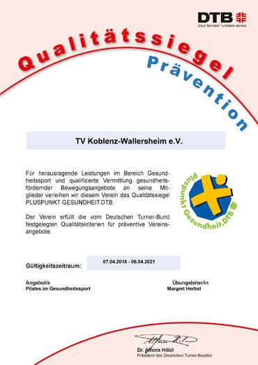 Zertifikat: Sport Pro Gesundheit DOSB